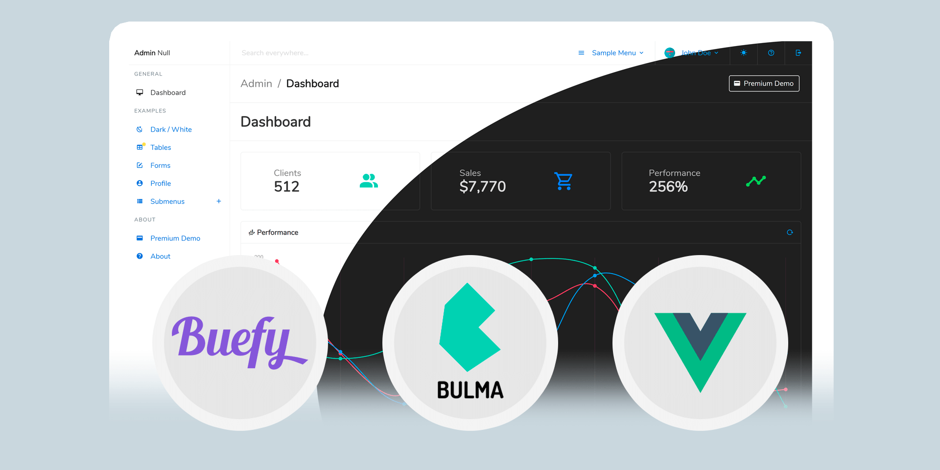 Admin Null - Free Vue.js Bulma Admin Dashboard with dark mode