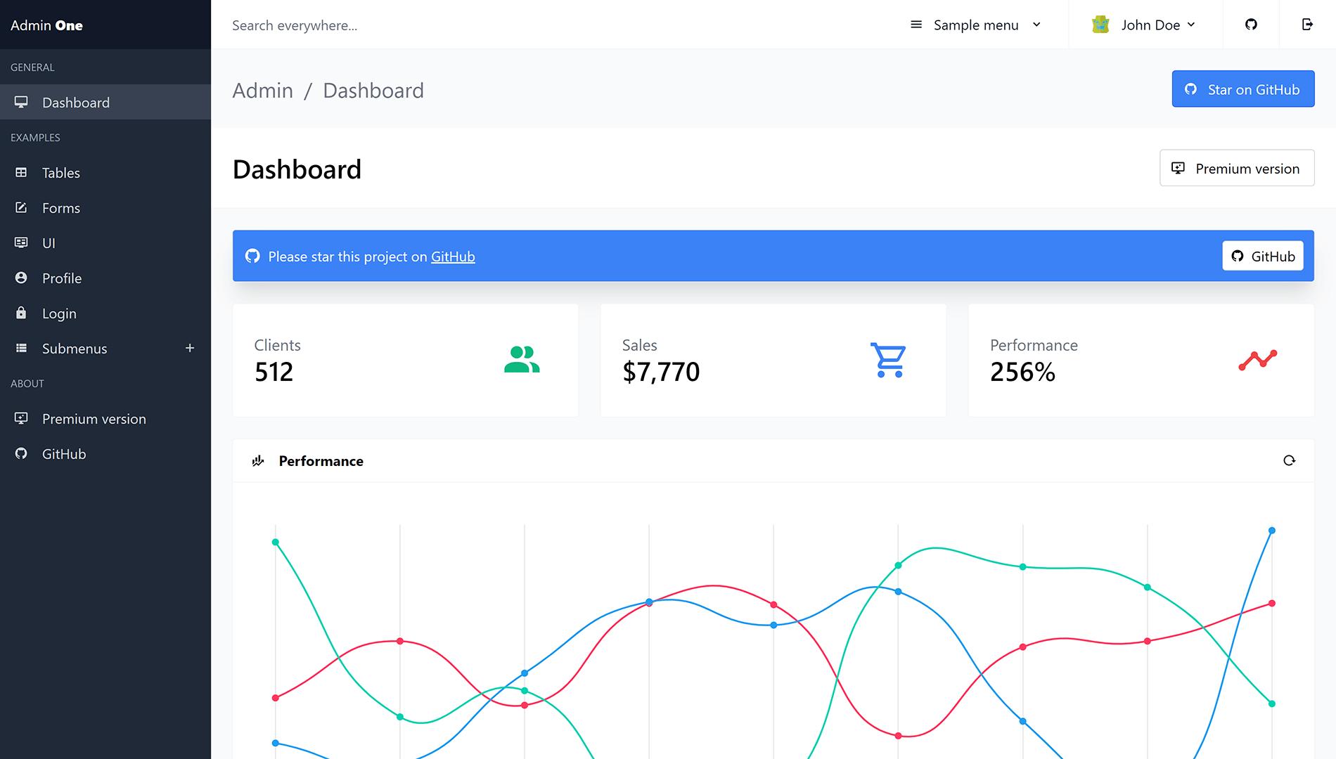 Admin One - free Vue.js 3 Tailwind dashboard
