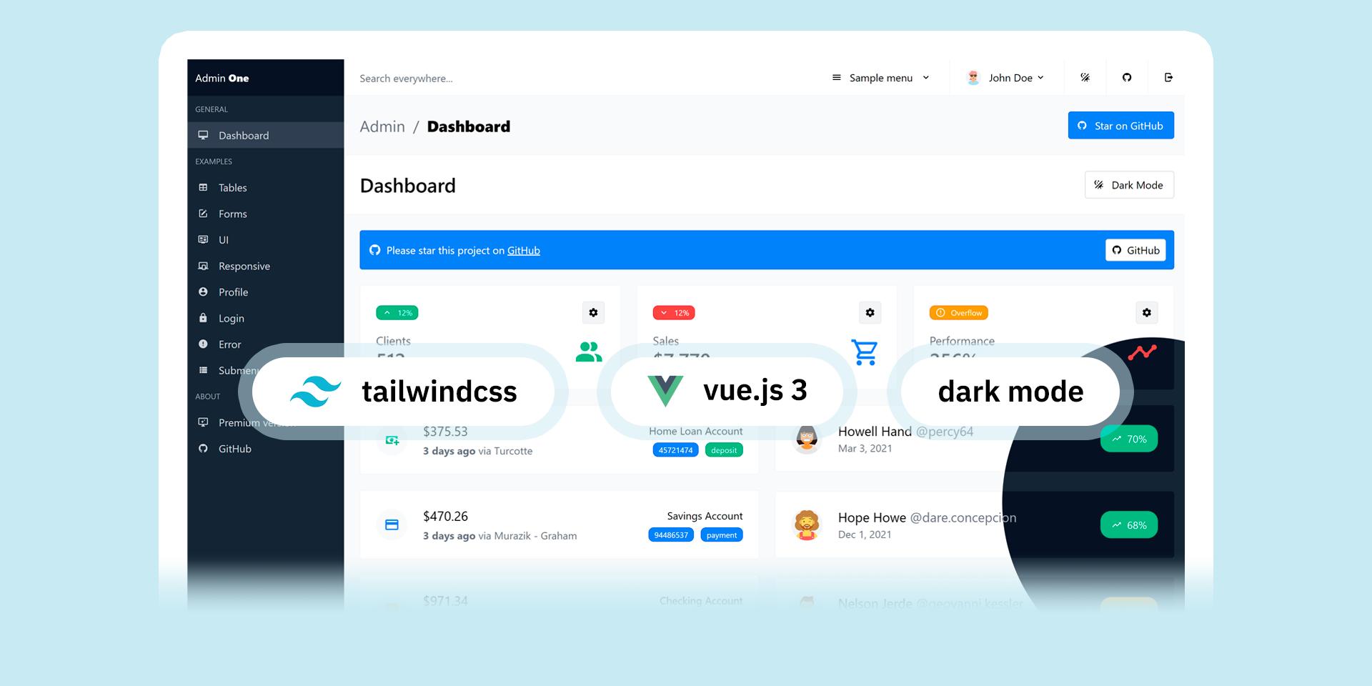 Free Vue 3 Tailwind CSS admin dashboard