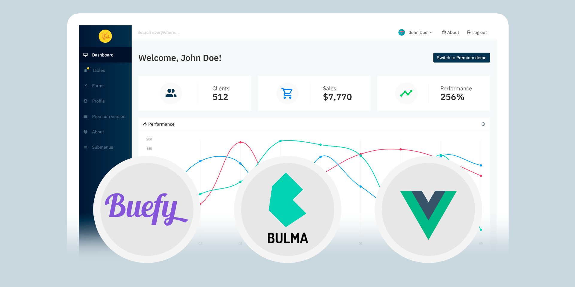 Admin Two - Free Vue.js Buefy Bulma Admin Dashboard